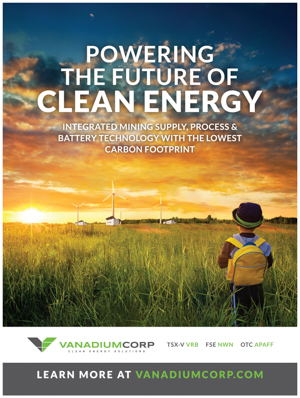 VanadiumCorp vanadium redox batteries clean green renewable energy electrical storage carbon footprint